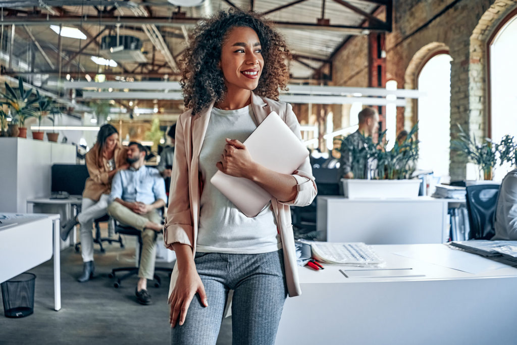 employee with portfolio in hand